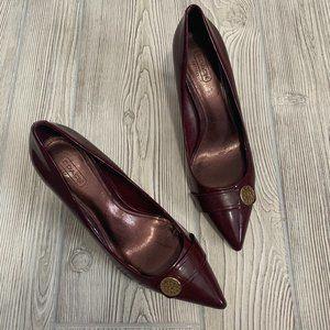 Coach Burgundy Pointed Toe Kitten Heels